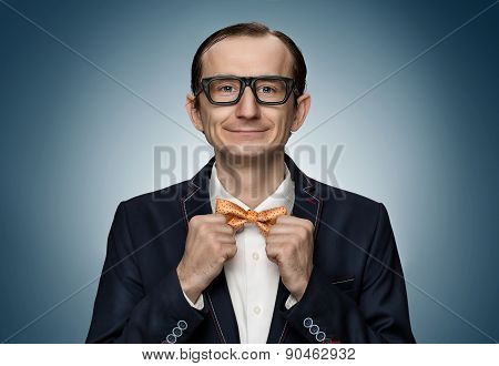 Funny Retro Nerd Preparing For A Date