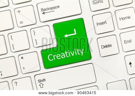 White Conceptual Keyboard - Creativity (green Key)