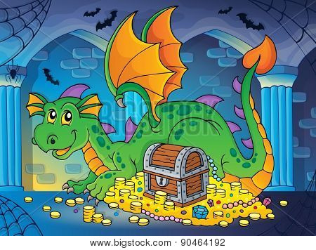 Dragon with treasure theme image 2 - eps10 vector illustration.