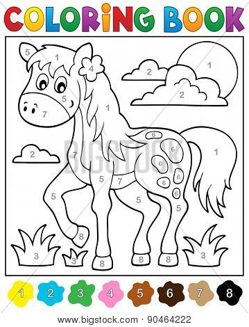 Coloring book with horse - eps10 vector illustration.