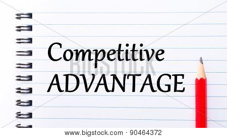 Competitive Advantage Text Written On Notebook Page