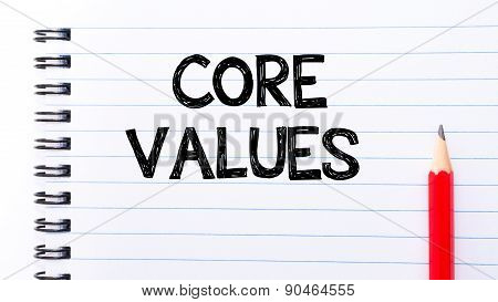 Core Values Text Written On Notebook Page