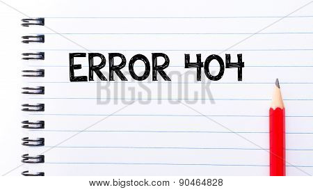 Error 404 Text Written On Notebook Page
