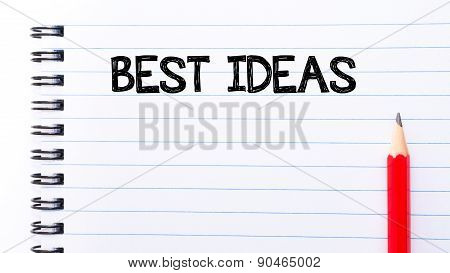 Best Ideas Text Written On Notebook Page