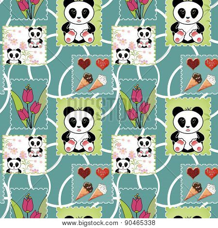 Seamless asia panda bear kids illustration patchwork background pattern