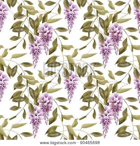 Seamless floral pattern background flowers ornament textile Illustration glicinia