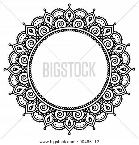 Mehndi, Indian Henna tattoo round pattern