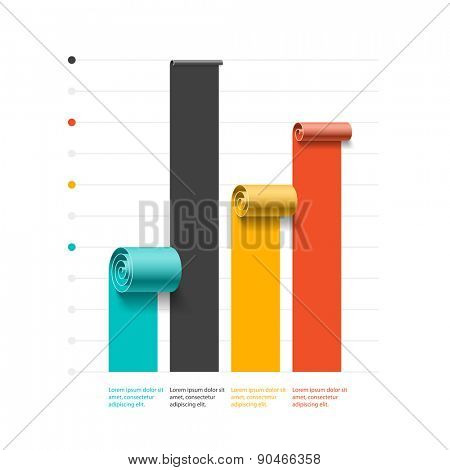 Business spiral graph template, infographics element. Vector.
