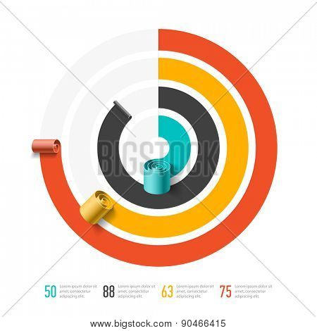 Spiral business chart template, infographics element. Vector.