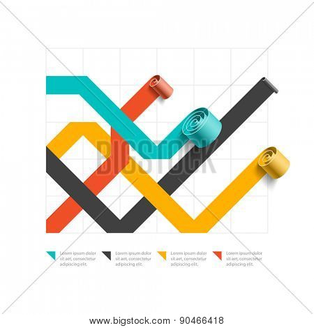 Spiral business line chart, graph template, infographics element. Vector.