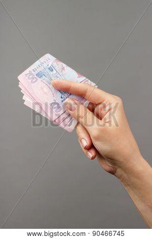 Female Hand Holding Money
