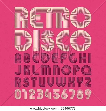 Retro disco style alphabet and numbers. Vector.
