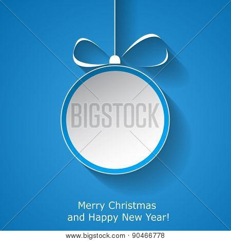 Xmas greeting card with abstract paper Christmas ball on blue background. Raster illustration
