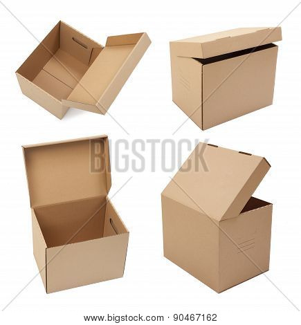 Cardboard boxes with different angles on white