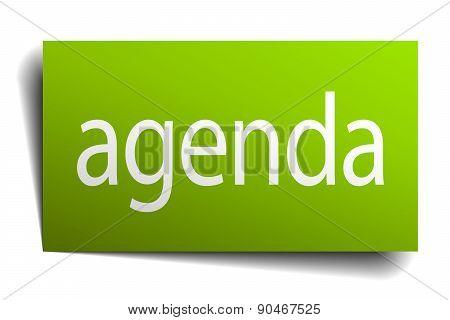 Agenda Green Paper Sign On White Background