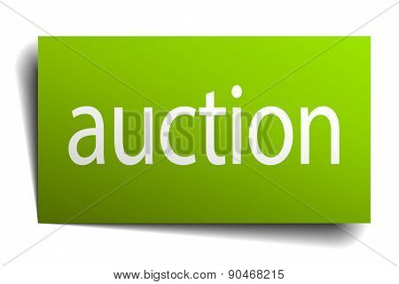 Auction Green Paper Sign On White Background