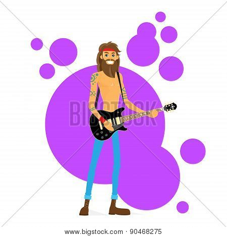 Man Play Guitar Hippie with Beard Vector