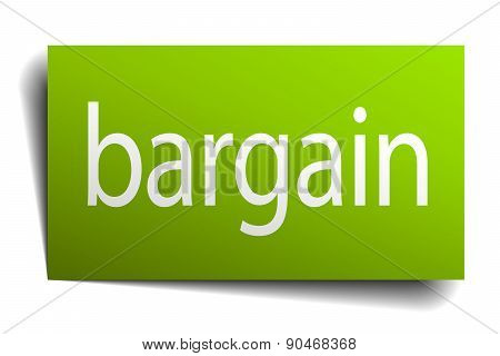 Bargain Green Paper Sign On White Background