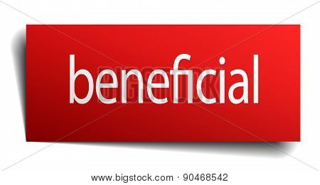 Beneficial Red Paper Sign Isolated On White