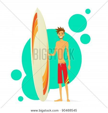 Surfer Man With Surfing Board Flat Icon
