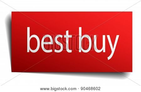 Best Buy Red Paper Sign Isolated On White
