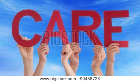 Hands Holding Red Straight Word Care Blue Sky
