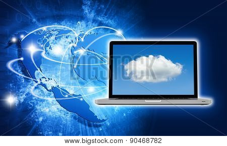 Blue Vivid Image Of Globe And Laptop With Cloud Screen