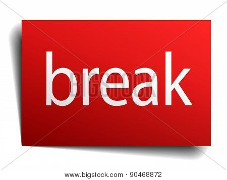 Break Red Paper Sign Isolated On White