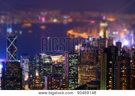 Night Futuristic Hong Kong Panorama. Tilt Shift