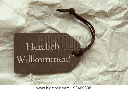Brown Label Herzlich Willkommen Means Welcome