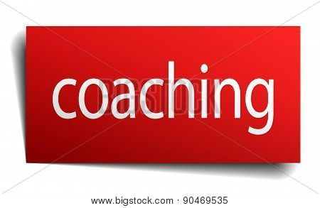 Coaching Red Paper Sign Isolated On White