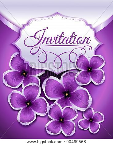 Wedding invitation card with lilac floral background.