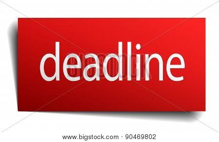 Deadline Red Square Isolated Paper Sign On White