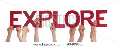 People Hands Holding Red Straight Word Expolre