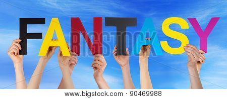 People Hold Colorful Straight Word Fantasy Blue Sk