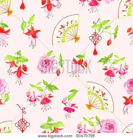 Chinese Fuchsia, Roses And Fan Seamless Vector Pattern
