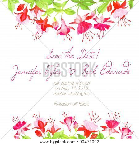 Delicate Fuchsia Design Frame Vector Element