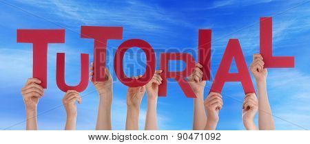 Many People Hands Hold Red Word Tutorial Blue Sky