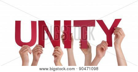 Many People Hands Holding Red Straight Word Unity