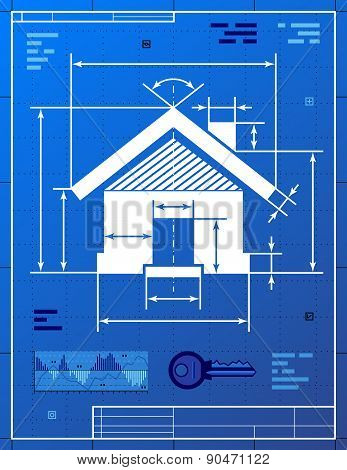 Home Symbol Like Blueprint Drawing