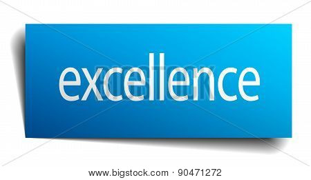 Excellence Blue Paper Sign On White Background