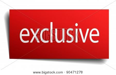 Exclusive Red Square Isolated Paper Sign On White