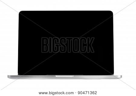 Laptop Computer With Black Screen Isolated On White Background