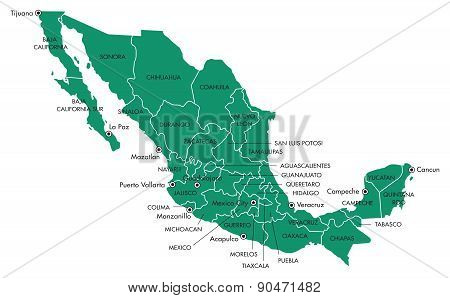 Map of Mexico with States and Cities