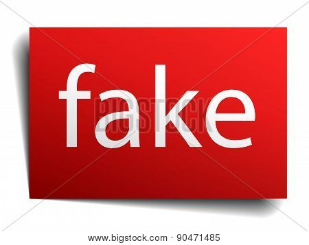 Fake Red Square Isolated Paper Sign On White