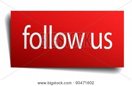 Follow Us Red Paper Sign On White Background