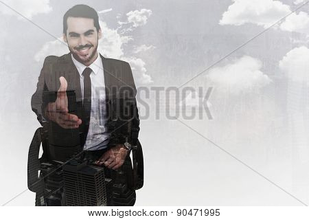 Smiling businessman on an chair office offering handshake against new york skyline
