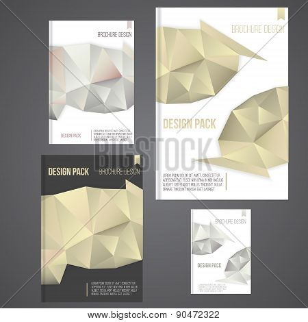 Vector brochure cover design template with golden and siver abstract geometric shape, triangle backg