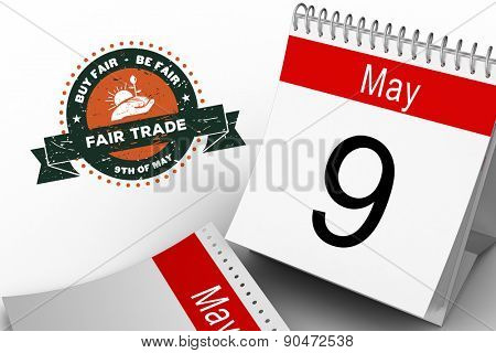 Fair Trade graphic against may calendar