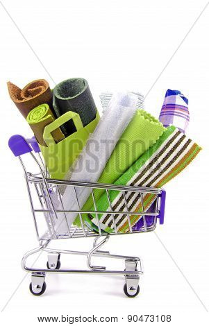 shopping trolley with various fabric materials